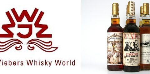 De line-up van de Whiskyproeverij van Martin Stavleu van Wijnhandel Van Welie in Gouda met de whisky's van Jack Wiebers en The Ultimate van Van Wees